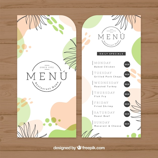 restaurant menu template in flat style vector free download