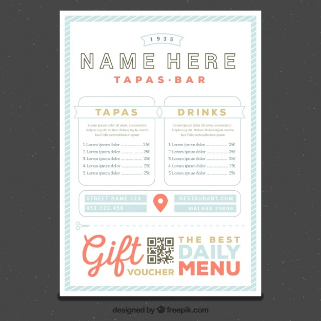 Restaurant menu template in retro style vector free download for Tapas menu template