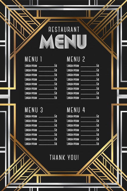 Restaurant Menu Template Luxury Vintage Artdeco Frame Vector