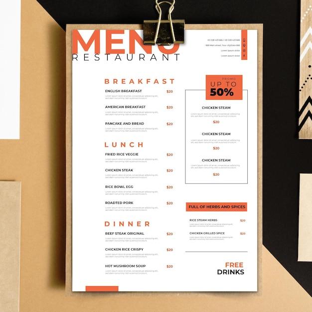 Тема шаблона меню ресторана Бесплатные векторы