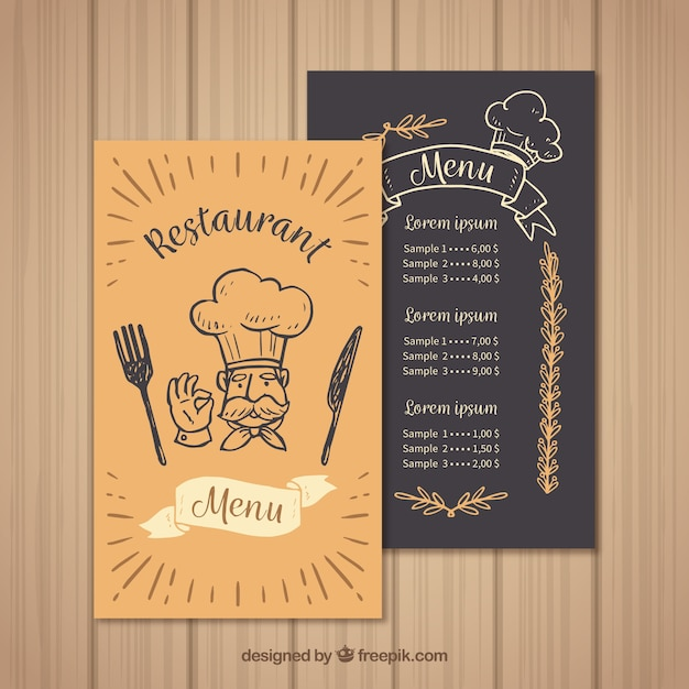 Restaurant Menu Template With Chef Vector  Free Download