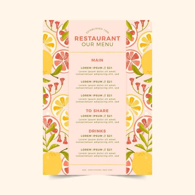Шаблон меню ресторана с цитрусовыми Бесплатные векторы