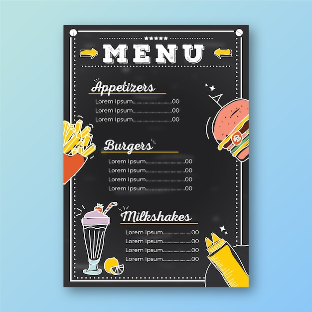 Restaurant menu template with drawings Free Vector