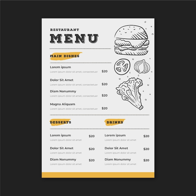 restaurant menu template with drawings
