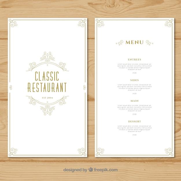 restaurant menu template with flat design vector free download