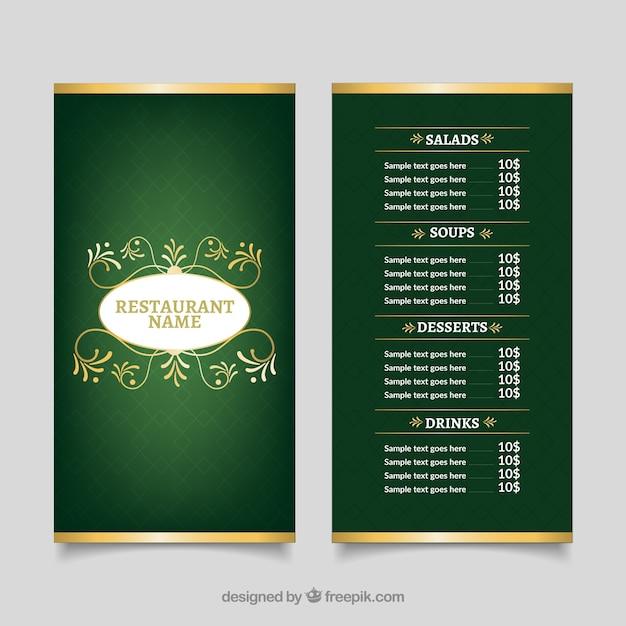 Restaurant menu template with golden details