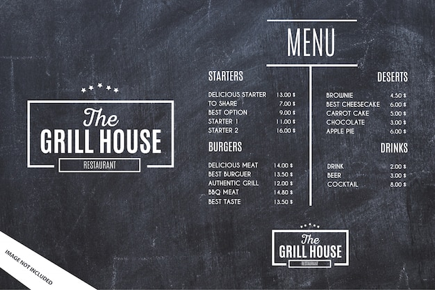 Restaurant Menu Template with Grunge Background Free Vector