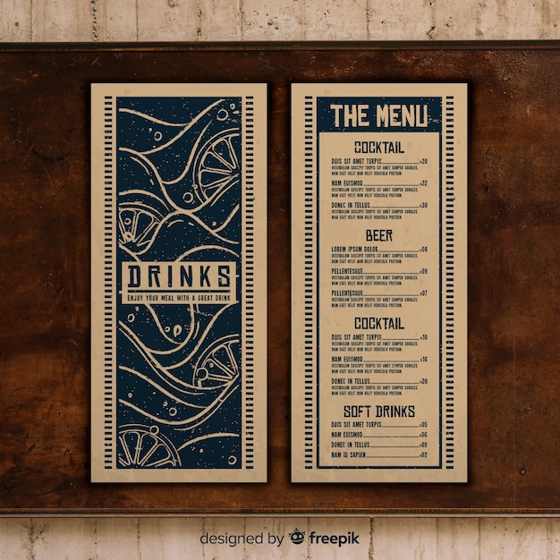 Restaurant menu template with photo Free Vector