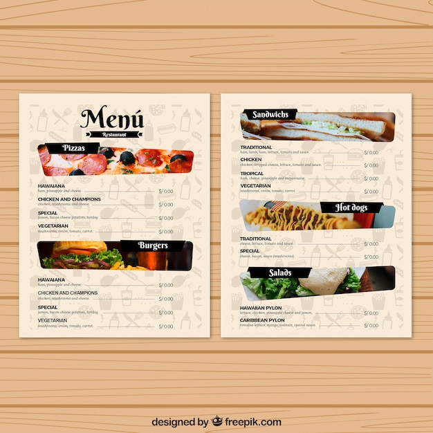 Restaurant Menu Template With Photos Vector  Free Download