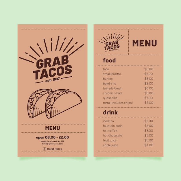 Restaurant menu template with tacos Free Vector