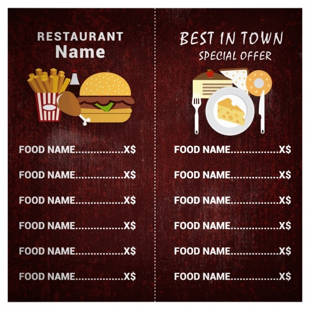 Restaurant menu template Free Vector