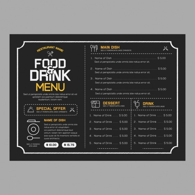 Restaurant menu template vector free download for Cafe menu design template free download