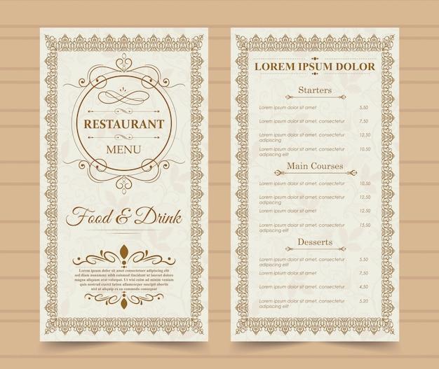 Restaurant menu template. Premium Vector