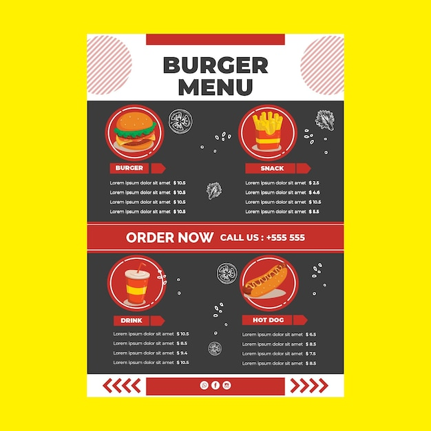 Restaurant menu template Free Vector