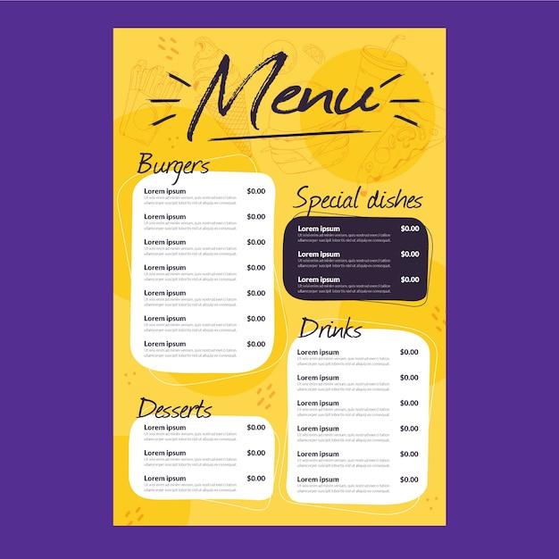 Шаблон меню ресторана Premium векторы