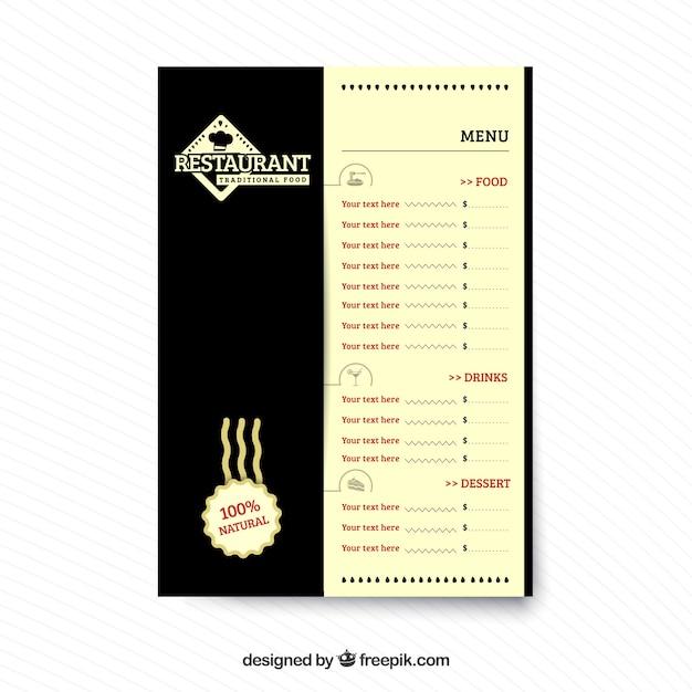 Restaurant menu, traditional food