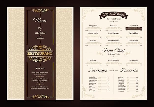 Restaurant menu vintage design with ornate frame and ribbon chef dishes beverages Free Vector