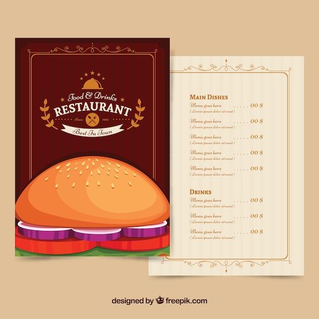 Restaurant menu with a delicious burger