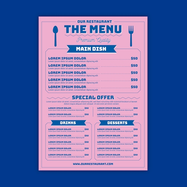 Restaurant menu with choices template Free Vector