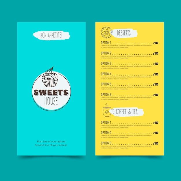 Restaurant menu with desert template Free Vector