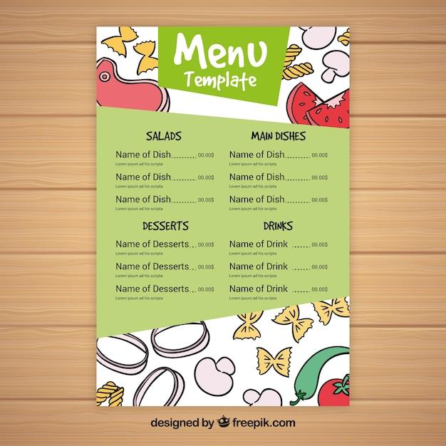 Restaurant menu with drawings