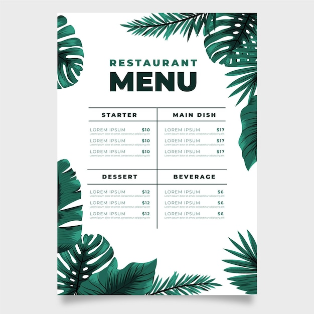 Restaurant menu with exotic and monstera leaves Free Vector