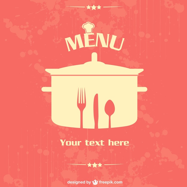 Restaurant menu with knife, fork, spoon and pot template Free Vector