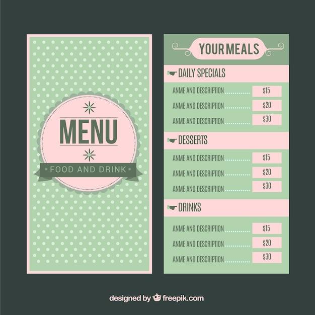 Restaurant menu with points