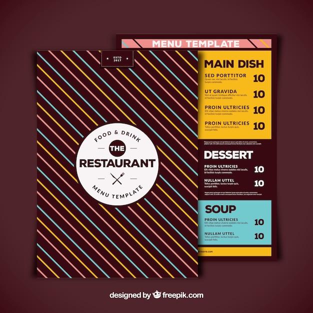 Restaurant menu with stripes
