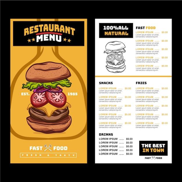 Restaurant menu with suggestive hamburger Free Vector