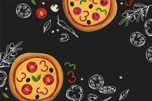 Restaurant mural wallpaper with pizza Free Vector