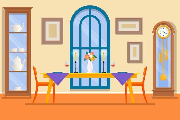 Superb Restaurant Or Dining Room Interior Premium Vector