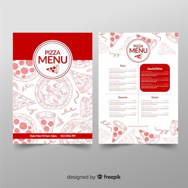 Restaurant pizza menu template in hand drawn Free Vector