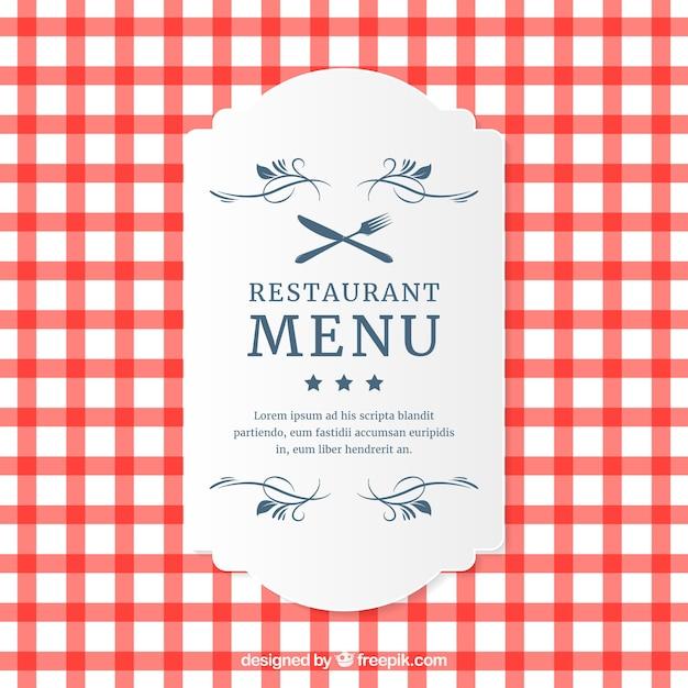 レストラン格子縞のメニューカード 無料ベクター