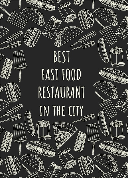 Restaurant poster template with food doodle Premium Vector