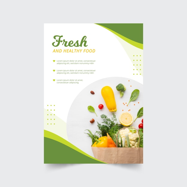 Restaurant poster template with photo and healthy food Free Vector