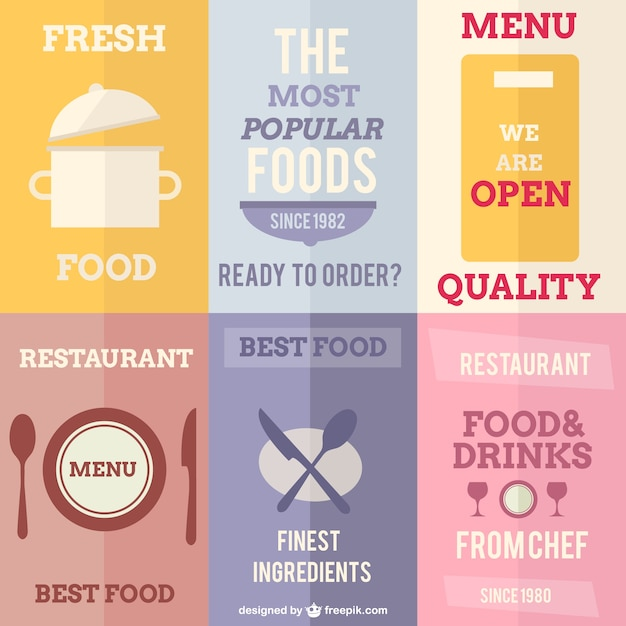 Restaurant posters Free Vector