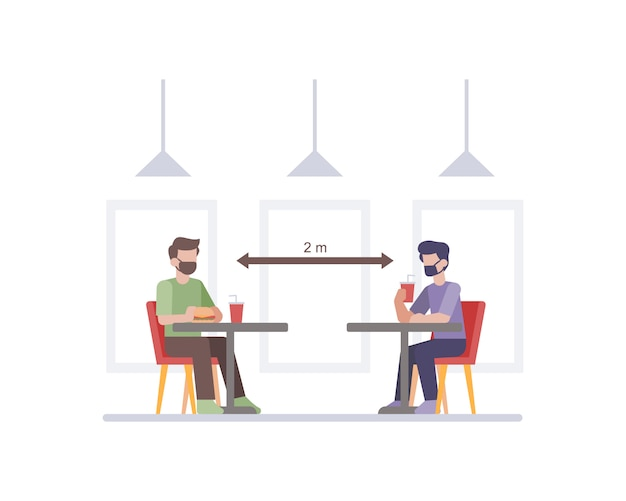 Restaurant practicing safety health protocols by doing social distancing between customer table chair illustration Premium Vector