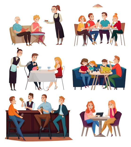 Restaurant and pub visitors set with food and drinks Free Vector