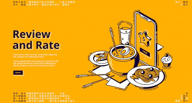 Restaurant rate, customer review isometric banner Free Vector