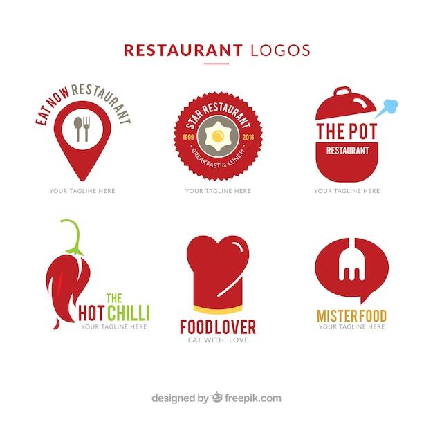 Ресторан красный логотипы Premium векторы