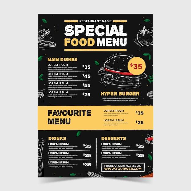Шаблон меню ресторана ресторана Бесплатные векторы