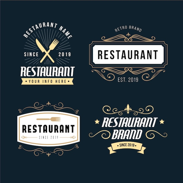 Restaurant retro brand logo collection Free Vector