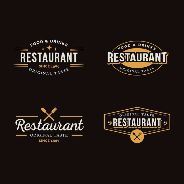 Restaurant retro label collection Free Vector