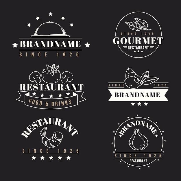 Restaurant retro logo collection templates Free Vector