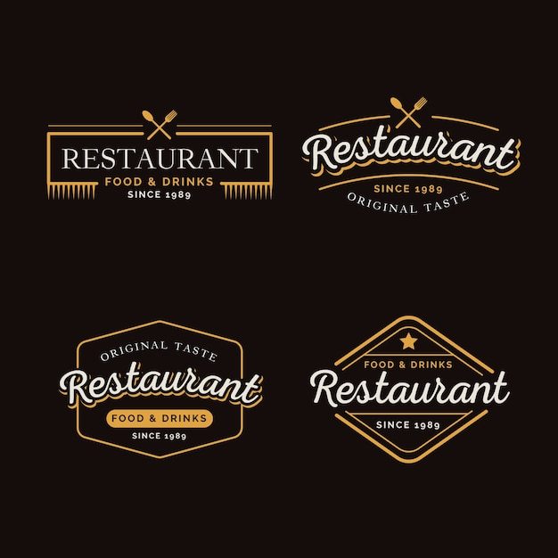 Restaurant retro logo collection Free Vector