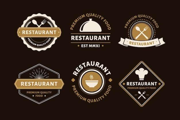Restaurant retro logo pack Free Vector