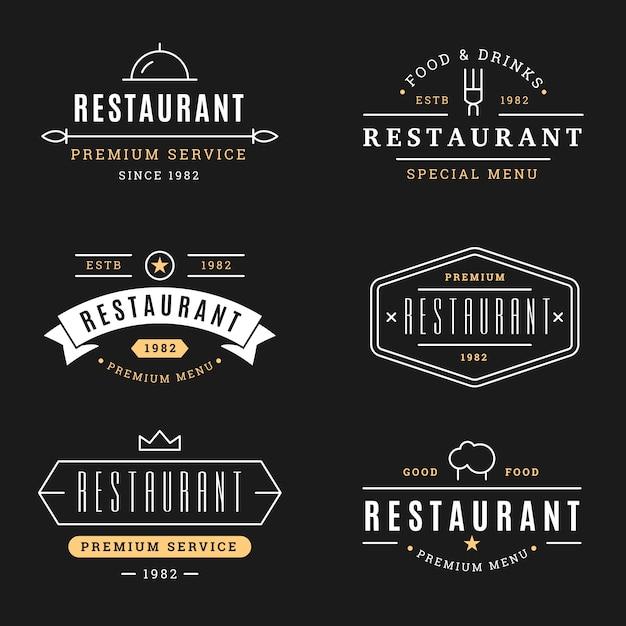 Restaurant retro logo template set Free Vector