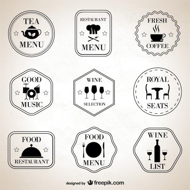 Restaurant retro symbols set Free Vector