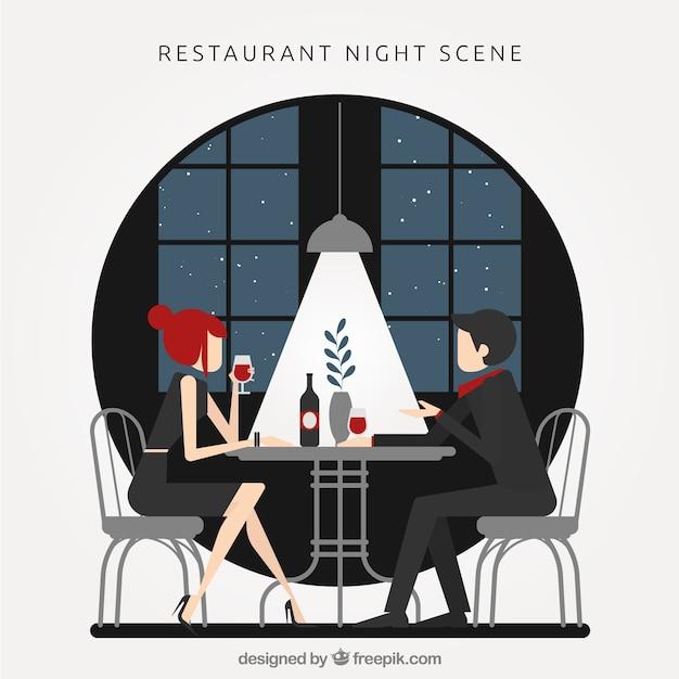 Restaurant scene at night Free Vector